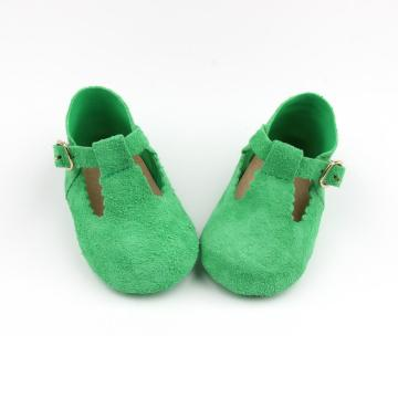 Baby T-bar Leather Green Soft Shoes