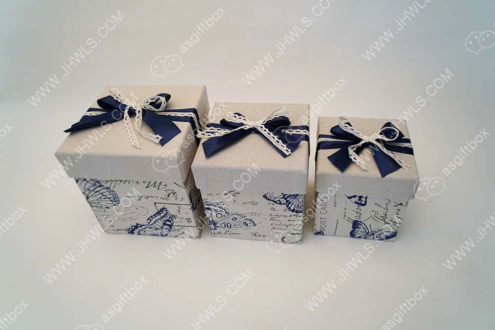 Linen printed bowknot cosmetic box