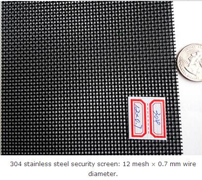 304 stainless steel security screen: 12 mesh × 0.7 mm wire diameter.