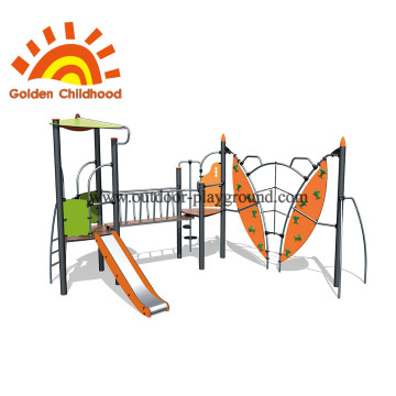 Kids playset climbing net rocks