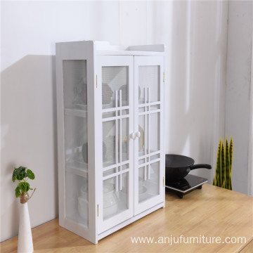 High-end kitchen solid wood white wooden cupboard wooden sideboard