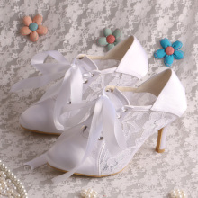 Ivory Lace-up Wedding Booties for Bride