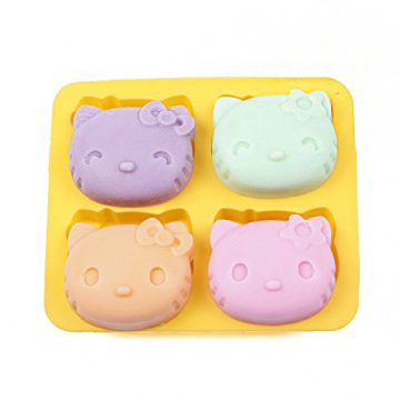4 face Holle-Kitty Silicone Cake Chocolate Mold