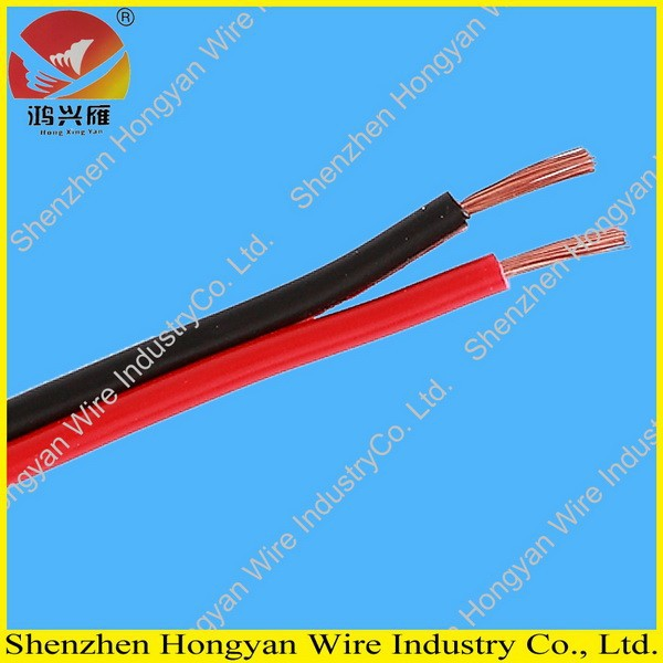 2 cores flat black and red speaker wire electrical wire