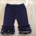 Dark Wash Children Ruffle Cotton Denim Capri Jeans