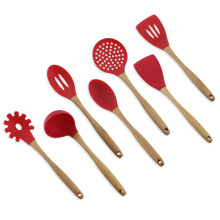Silicone Cooking Utensils Set with Beech Wood Handle