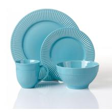 16pcs solid color emboss ceramic dinnerware sets