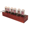 Nixie Tube Digital Clock with Wooden Pedestal