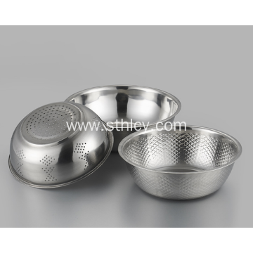 Three Piece Stainless Steel Rice Sieve Tray