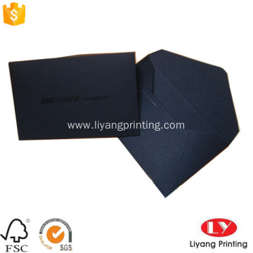 Black color envelope with embossed printed