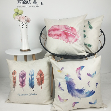 Set of 4 Feather Throw Pillow Covers Colorful Watercolor Decorative Cushion Cover Pillow Case for Sofa Bedroom Car Couch 18 x 18