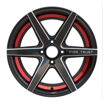 Aftermarket Alloy Rim 17x8 Black Red Ring