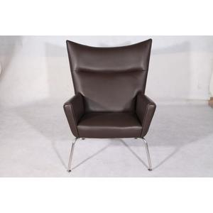 Low price for Modern Luxury Lounge Chair Leather Hans Wegner CH445 Wing Chair Replica export to Indonesia Exporter