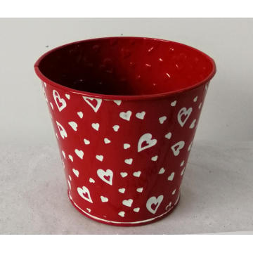 Red stamping flower bucket