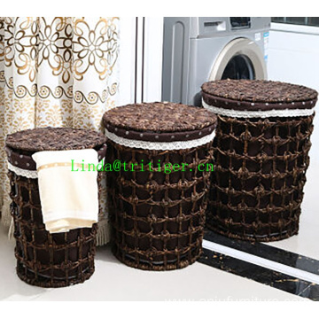 China factory wicker straw weaved Laundry Basket With Lids corn husk