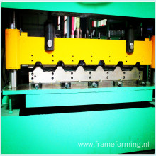 Metal roof panel sheet roll forming machine