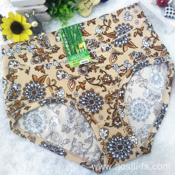 OEM wholesale China cheap khaki sexy women printed flowers fancy underwear 5671