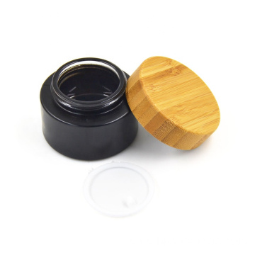 30g Environmental empty bamboo cosmetic lid black frosted glass jars/cosmetic lotion bottles/cosmetic bottles and jars