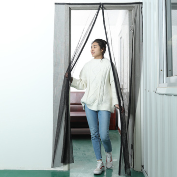 black white diy magnetic screen door curtain