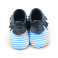 Wholesale Stripes Baby Moccasins Leather shoes