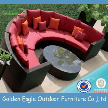 outdoor hemicycle sectional wicker sofa