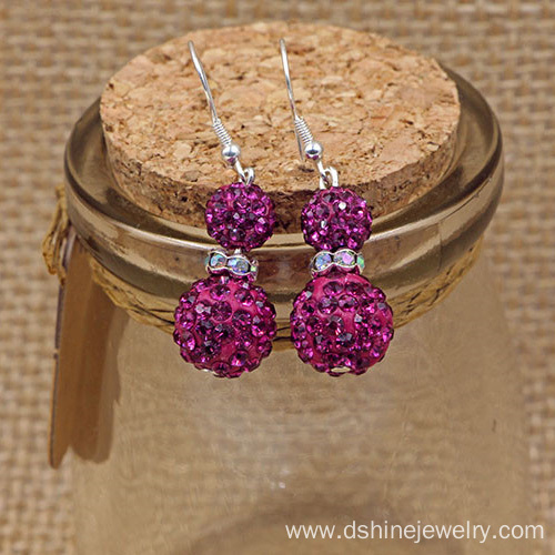 Double Beads Shamballa Earrings Rhinestone Crystal Earrings