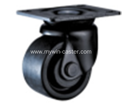 3 inch plate swivel PA black low gravity caster wheel