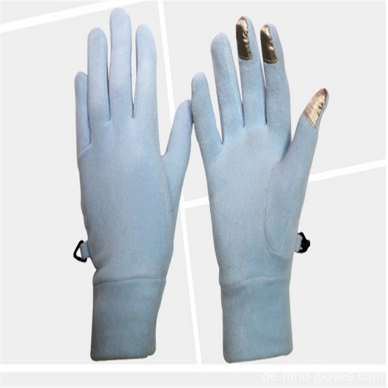 Frauen Winter warme lange Finger Polar Fleece Handschuhe
