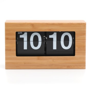 Small Natural Bamboo Flip Clock for Tables