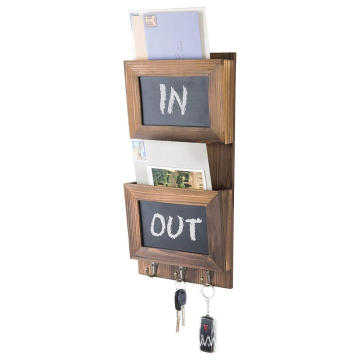 Wall-Mounted Wood Mail Sorter with Chalkboard Panels & Key Hooks