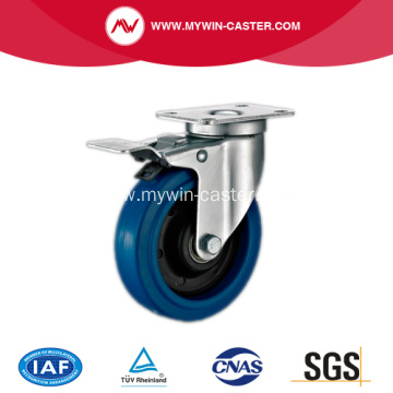 85mm Plate Swivel Blue Elastic Rubber Caster with total brake