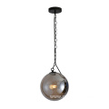 Glass Round Ball Pendant Lamp with Iron chain