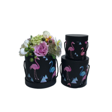 Flamingo pattern round flower box