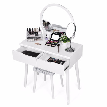 Modern Design Cheap White Simple Wooden Makeup Mirrored Dressing Table With Mirror And Drawers