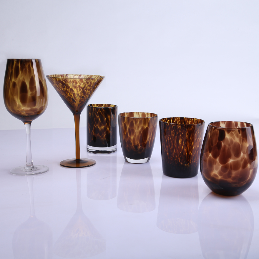Leopard Pattern Goblet Wine Glasses
