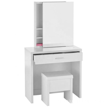 Melamine paper Hidden Mirror Storage White Vanity Set mirrored dresser