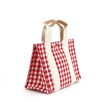 Vintage Cotton Plaid Girls Small Tote Picnic Bags