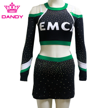 China OEM for Cheerleader Uniform AB crystals plus size custom cheer uniforms online export to Namibia Exporter