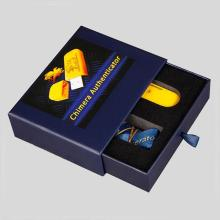 Custom Blue Coated Drawer USB Gift Paper Box