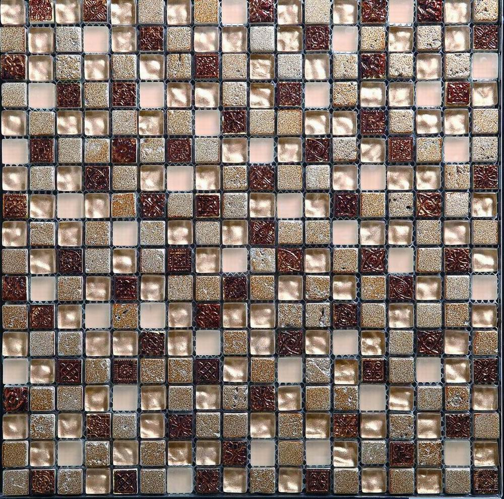 Metal Red Stone Glass Mixed Mosaic