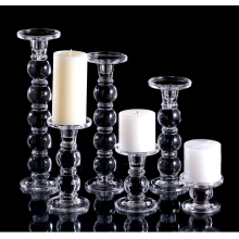 gorgeous crystal pillar tall glass candle holders