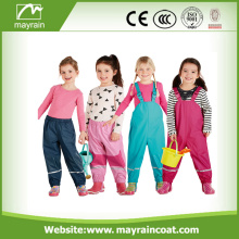 Children PU Waterproof Rain Bib Pants