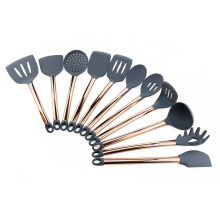 factory low price Used for Kitchen Silicone Utensils Set Gold kitchen silicone utensil cooking tool set export to India Supplier