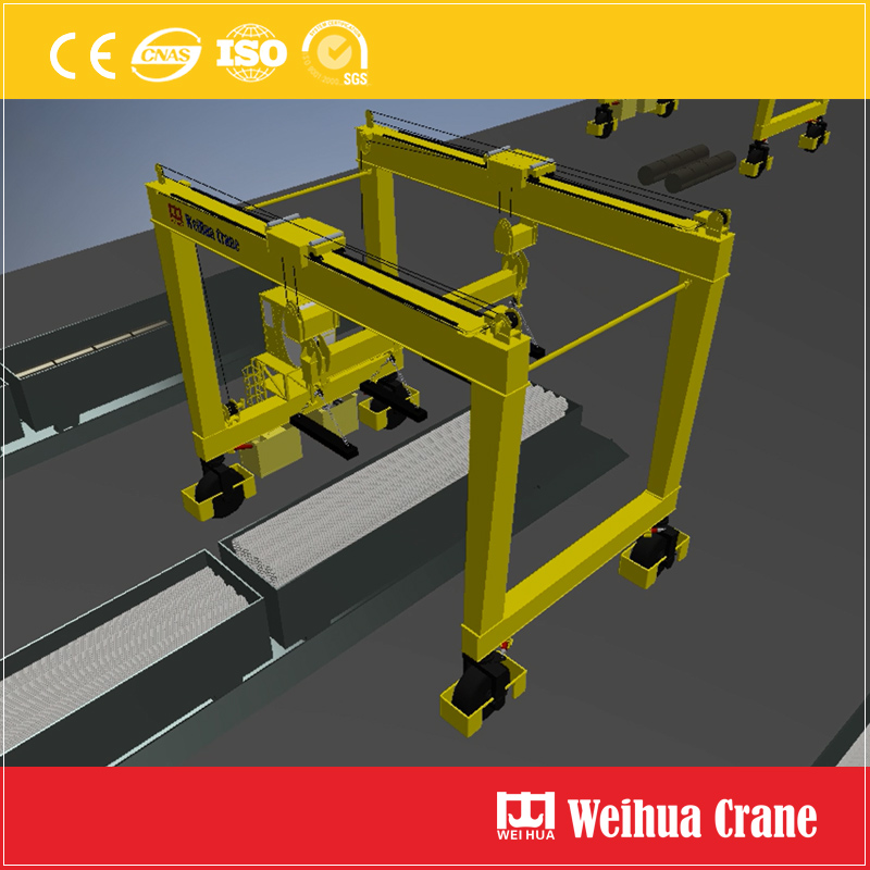Rubber Tyred Gantry Crane Steel Pipe Handling