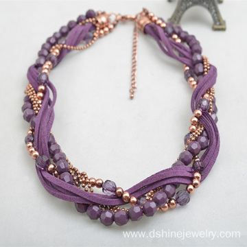 Cheapest Factory for China Vintage Necklaces, Vintage Necklaces Wedding , Purple Vintage Necklaces manufacturer Handmade Crystal Beads Necklace Velvet String Weaved Choker export to British Indian Ocean Territory Factory