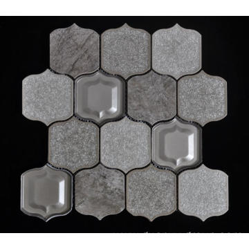 Gray Background Porcelain Glass Mixed Mosaic Tile