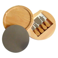 Yangjiang Oak Wood Cheese Knife Board Set
