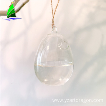 hanging egg shape glass home decor flower vase