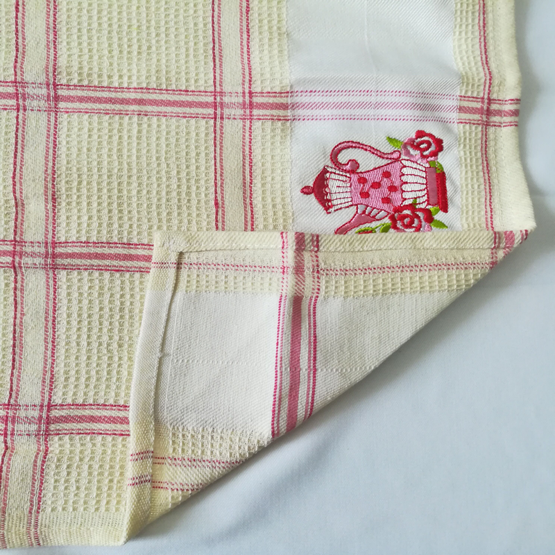 Teapot Embroidery Cotton Tea Towel Set