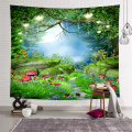 Forest Mushroom Tapestry Wall Hanging Night Sky Tree Flower Wall Tapestry for Livingroom Bedroom Dorm Home Decor